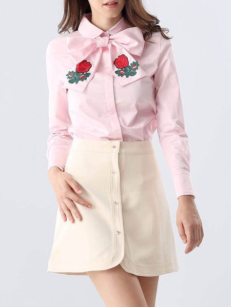 Pink Embroidered Long Sleeve Two Piece Floral Mini Dress