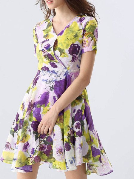 Purple A-line Floral-print Short Sleeve Mini Dress