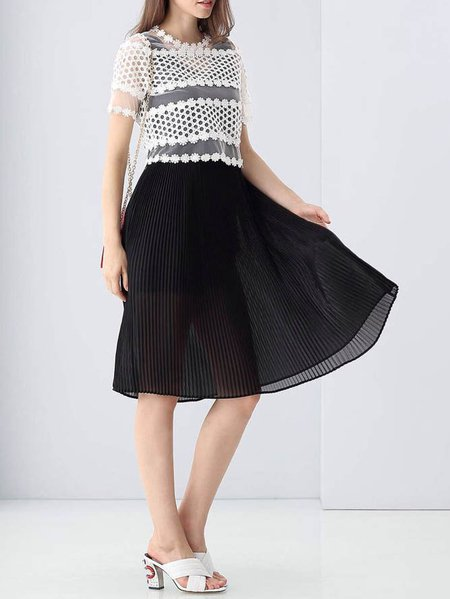 Black Pleated Two Piece Short Sleeve Midi Dress