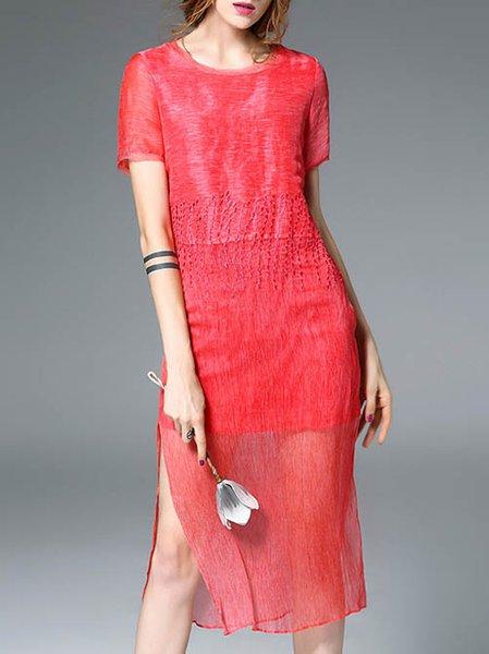 Elegant Short Sleeve Paneled Silk Sheath Midi Dress