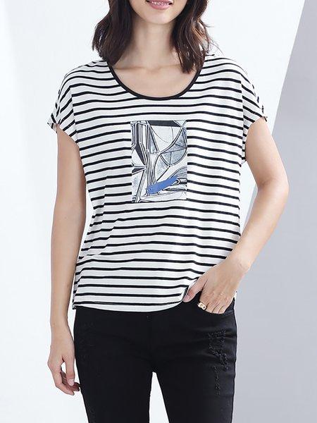 White H-line Cotton Short Sleeve T-Shirt