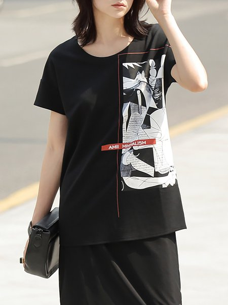 Black Casual Printed H-line T-Shirt