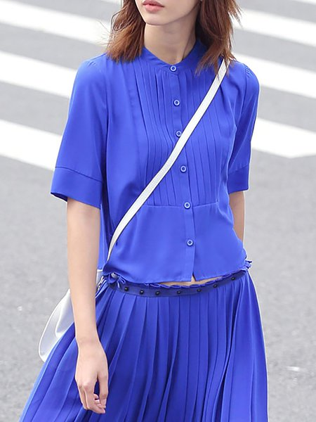 Royal Blue Plain H-line Polyester Simple Blouse