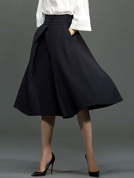 Black Cotton Swing Casual Folds Midi Skirt - StyleWe.com