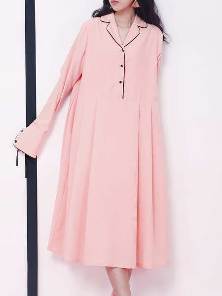 Pink Shift Chiffon Lapel Casual Midi Dress
