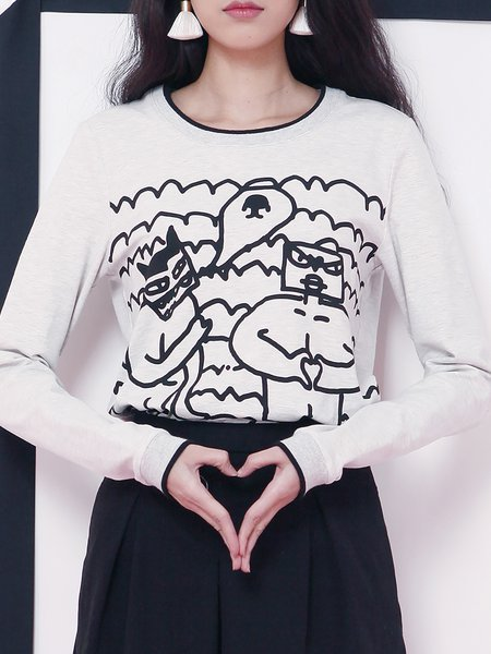 Light Gray Casual Cotton Printed Graphic Long Sleeved Top