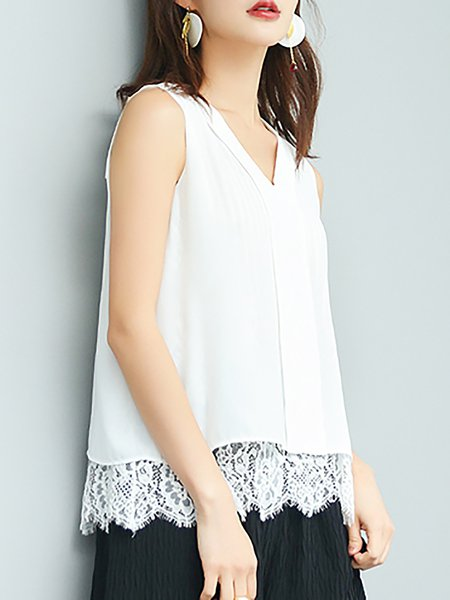 White H-line Sweet V Neck Blouse