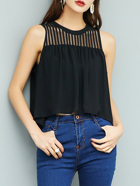 Black Crew Neck Casual Polyester H-line Cropped Top