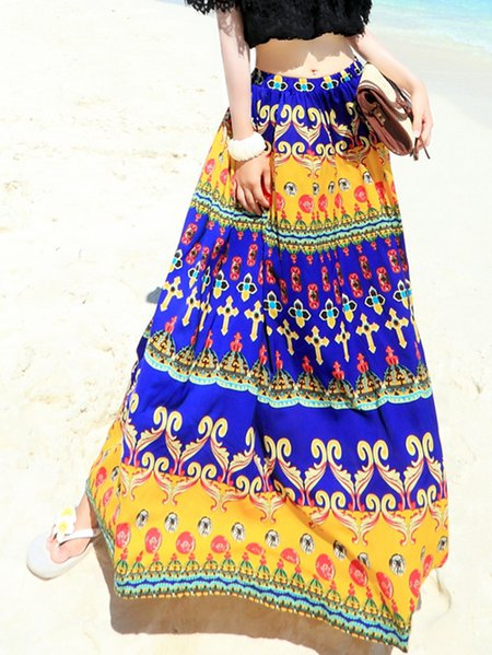 Yellow Tribal Boho Polyester Maxi Skirt