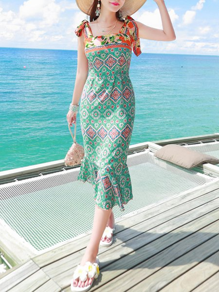 Green Flounce Sleeveless Tribal Midi Dress