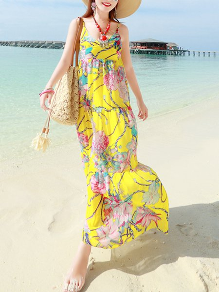 Yellow Chiffon Beach Floral Maxi Dress