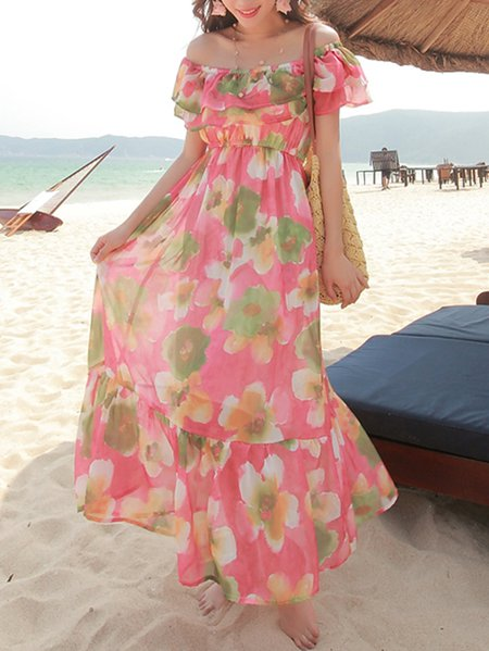 Pink Off Shoulder Ruffled Sweet Midi Dress