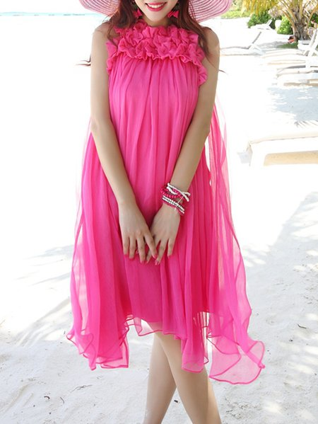 Fuchsia Sweet Mesh Chiffon Mini Dress