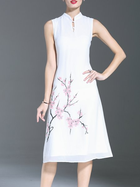 White Stand Collar Vintage Midi Dress