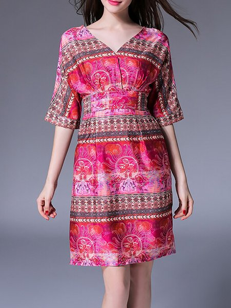 Fuchsia Half Sleeve Printed V Neck H-line Midi Dress