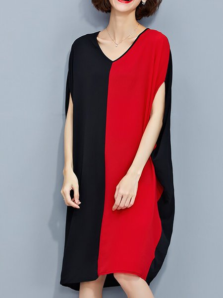 Multicolor Shift Chiffon Batwing Plain Midi Dress