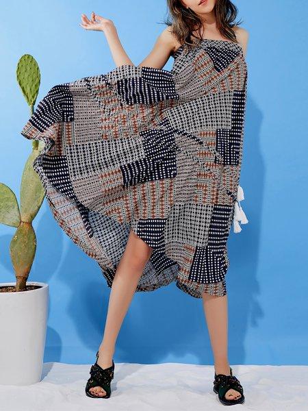 Square Neck Beach Geometric Spaghetti Midi Dress