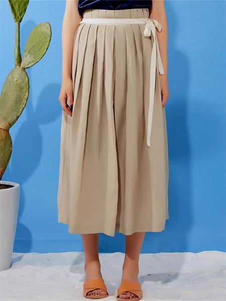 Khaki H-line Casual Midi Skirt