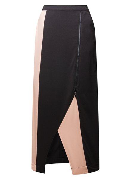 Black Plain Zipper Bodycon Statement Midi Skirt