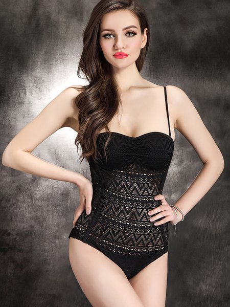 Black Geometric Pierced Straped One-Piece