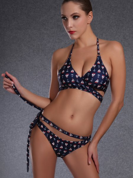 Dark Blue Padded Printed Halter Bikini