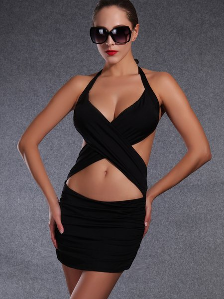 Padded Plain Halter One-Piece