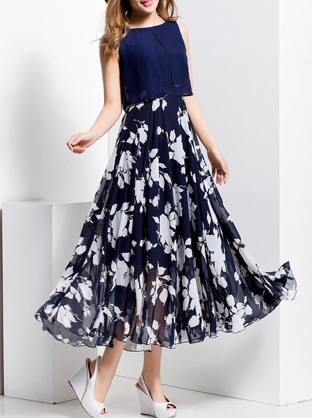 Navy Blue Floral Beach Polyester Maxi Dress