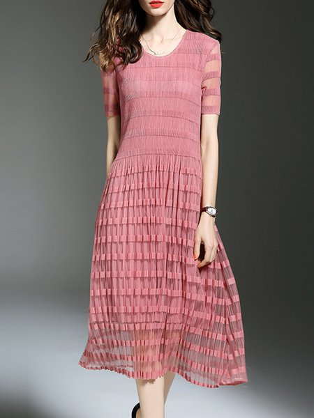 Pink A-line Plain Short Sleeve Midi Dress