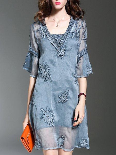 Blue Elegant Embroidered A-line Mini Dress