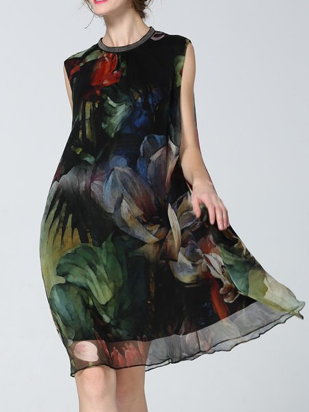 Elegant Floral-print Sleeveless Midi Dress