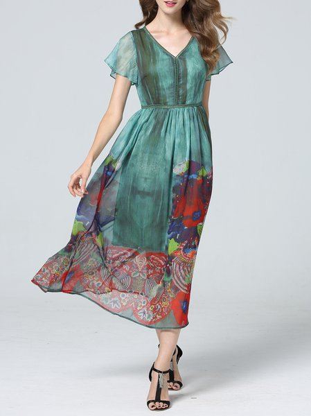 Silk-blend Printed Frill Sleeve Elegant Midi Dress