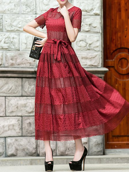 Red Crew Neck Vintage Short Sleeve A-line Midi Dress