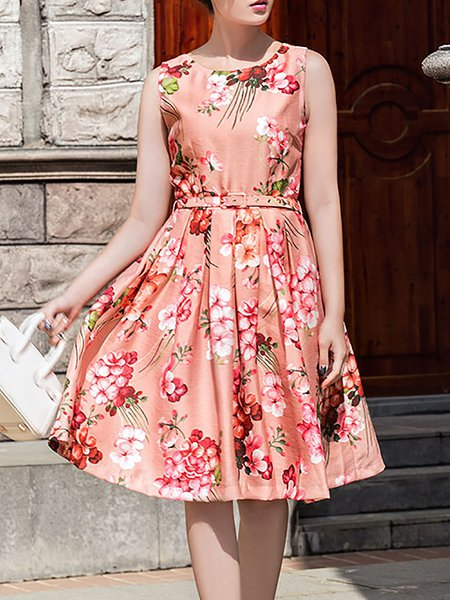 Sleeveless Floral Printed Vintage Crew Neck Midi Dress
