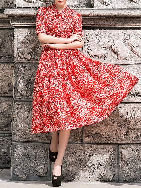 Red Swing Casual Silk Printed Midi Dress