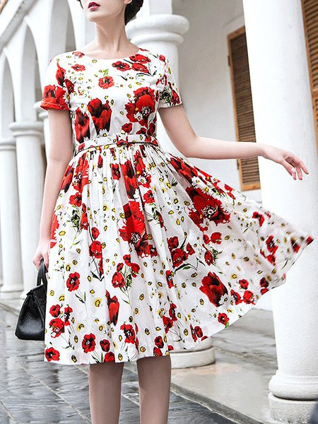 Red Floral Vintage Crew Neck Midi Dress with Belt