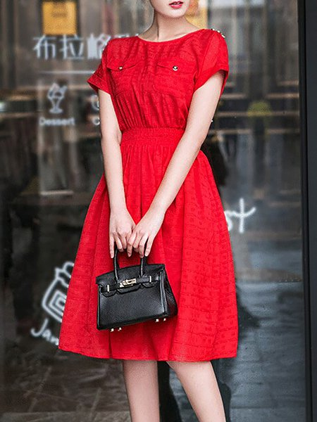 Red Simple Pockets Polyester Midi Dress