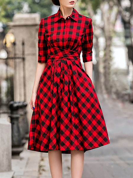 Red A-line Spandex Printed Vintage Midi Dress
