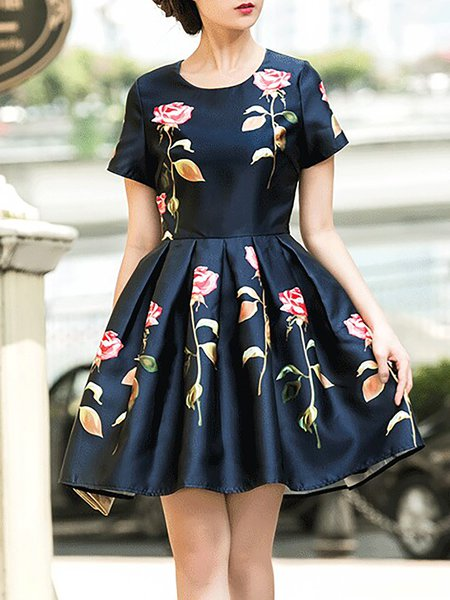 Dark Blue Girly Crew Neck A-line Floral Mini Dress
