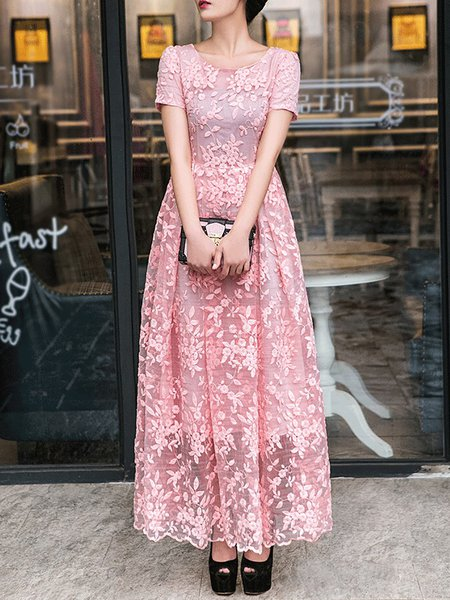 Pink Polyester Vintage Maxi Dress