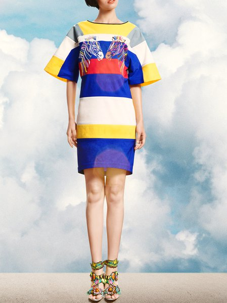 Blue Statement Color-block Abstract H-line Midi Dress