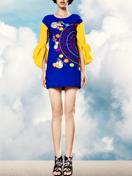 Blue A-line Embroidered Frill Sleeve Crew Neck Mini Dress