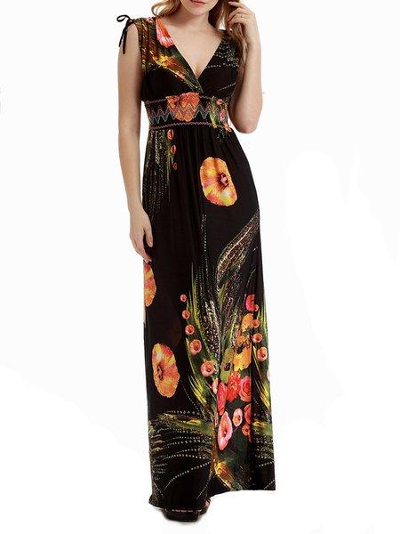 Black Beach Printed A-line Plunging Neck Maxi Dress