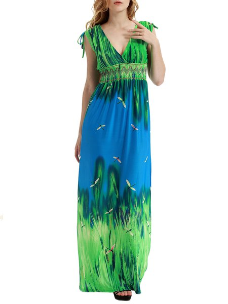 Green Sleeveless Printed Boho Dress