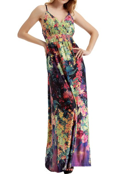 Purple A-line Spaghetti Floral Printed Maxi Dress