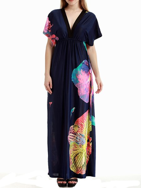 Dark Blue Polyester Plunging Neck Printed Resort Maxi Dress