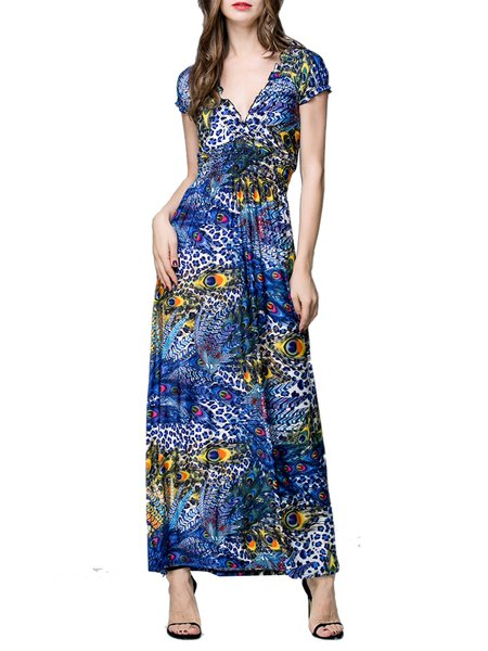 Blue A-line Resort Viscose Plunging Neck Maxi Dress