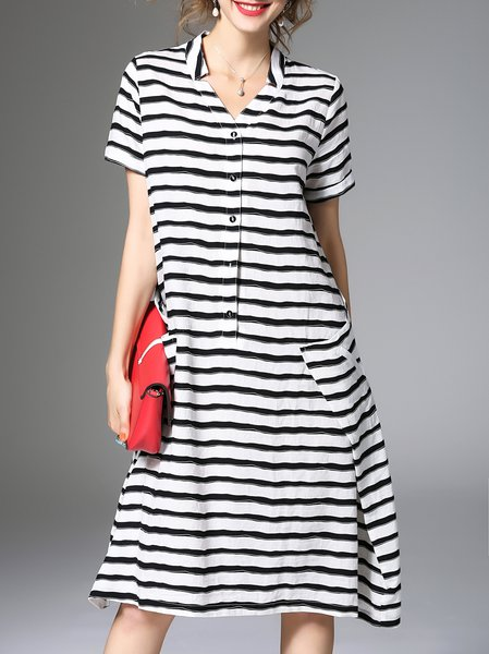 White Elegant A-line Stripes Midi Dress
