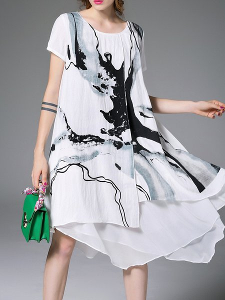 White Abstract Elegant Asymmetric Midi Dress