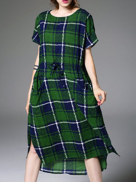Green Checkered/Plaid Casual Printed Shift Midi Dress