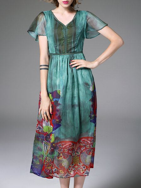 Multicolor Floral Frill Sleeve Floral-print Midi Dress